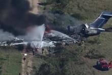 Une grande partie de l'avion a été détruite par les flammes