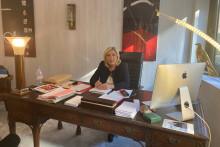 Marine Le Pen dans son nouveau QG de campagne