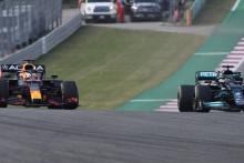 Max Verstappen (gauche) et Lewis Hamilton (droite) côte à côte lors des essais du GP des États-Unis le 22 octobre 2021