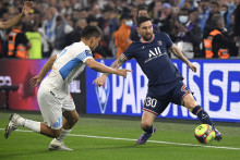 Messi avec le PSG face à l'OM de Ünder le 24 octobre 2021 à Marseille