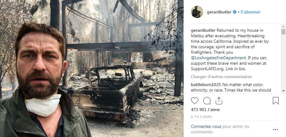 Gerard Butler devant sa maison en cendres