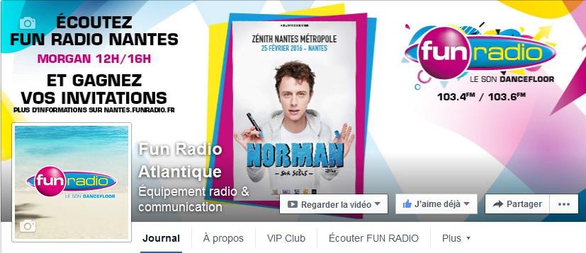 Likez la page Fun Radio Atlantique