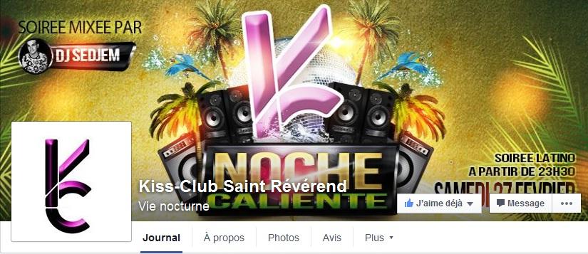 Page Facebook Kiss Club St-Révérénd