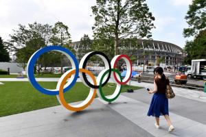 Les anneaux olympiques à Tokyo le 23 juillet 2019 (image d'illustration)