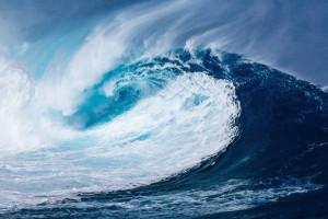 Une vague lors d'un tsunami (Image d'illustration).
