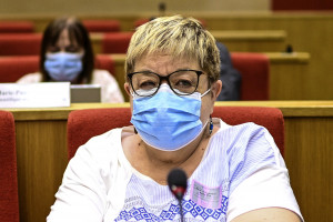 Le professeur de médecine française Dominique Costagliola siègeant devant une commission sénatoriale sur la gestion de la pandémie de Covid-19 par les institutions de l'État français.