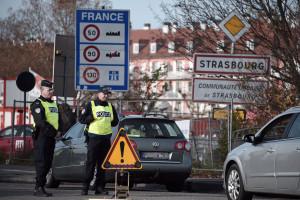 Des policiers à la frontière franco-allemande (illustration)