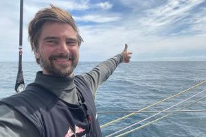 """Boris Herrmann à bord de son voilier """"Seaexplorer-Yacht Club de Monaco"""" sur le Vendée Globe 2020"""