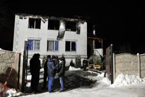 Une maison de retraite a été ravagée par un incendie, à Khrakiv, dans l'est de l'Ukraine, le 21 janvier 2021.