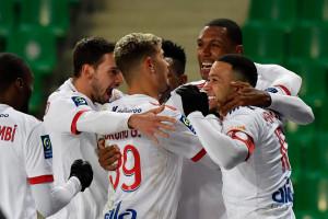 Les joueurs de l'Olympique Lyonnais le 24 janvier 2021