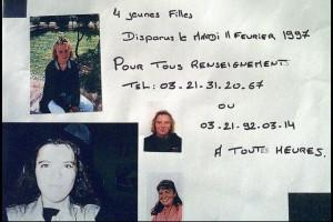 L'avis de recherche d'Isabelle, Audrey, Peggy et Amélie, disparues dans la nuit du 11 au 12 février 1997.
