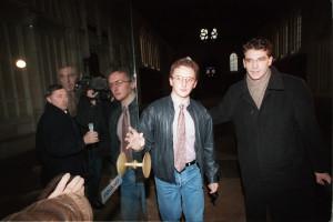 Jean-Marie Villemin et son avocat Arnaud Montebourg en 1994 au Palais de Justice de Dijon.