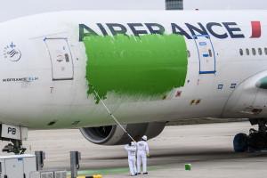 """Des militants Greenpeace ont repeint un avion d'Air France à Roissy-Charles de Gaulle le samedi 6 mars, afin de dénoncer le """"greenwashing"""" de l'État."""