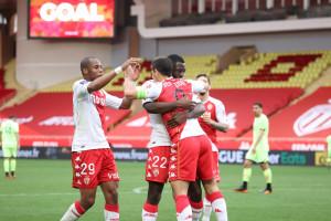 Les Monégasques à la fête après leur succès contre Dijon (3-0) le 11 avril 2021