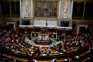L'hémicycle de l'Assemblée nationale, le 13 avril 2021