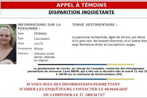 Carla Brun a été vue pour la dernière fois le mardi 11 mai à 14h30 à Entrecasteaux dans le Var.