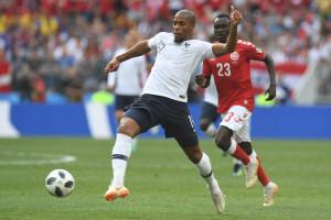 Djibril Sidibé avec les Bleus face au Danemark à Moscou le 26 juin 2018