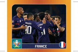 Un sticker Panini représentant l'équipe de France de football (illustration)