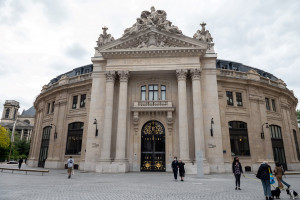 Photo de la Bourse de commerce qui abrite la collection d'art privée du milliardaire François Pinault à Paris, le 12 mai 2021.