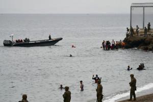 Migrants arrivant dans l'enclave espagnole de Ceuta