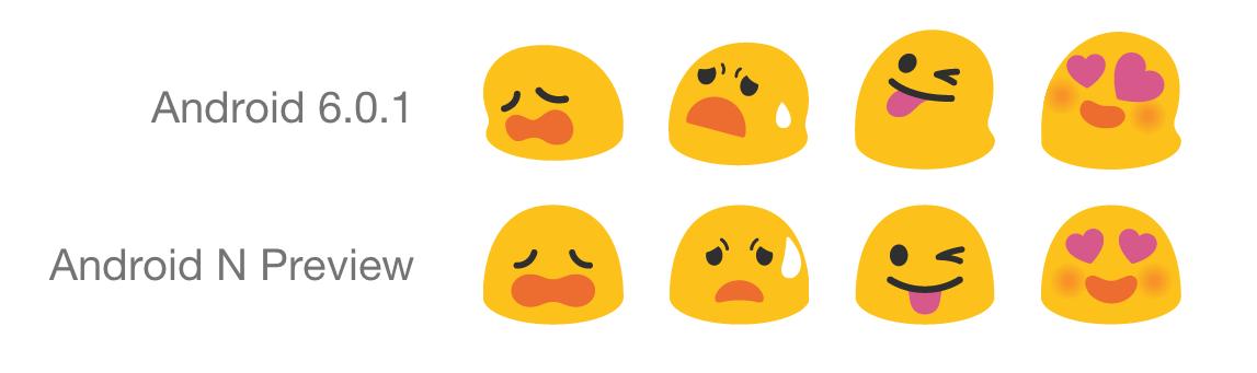 Anciens et nouveaux emojis Android
