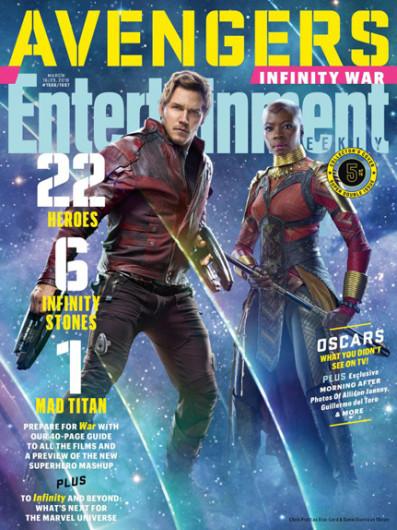 Star-Lord (Chris Pratt) et Okoye (Danai Gurira)