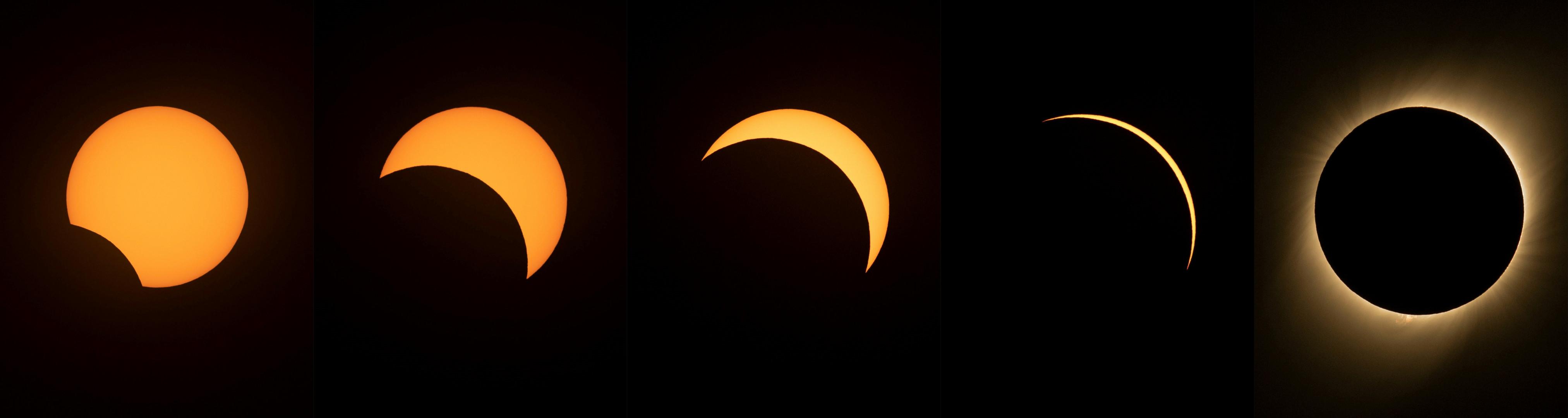 Les différentes phases de l'éclipse totale du Soleil au-dessus du Chili le 2 juillet 2019