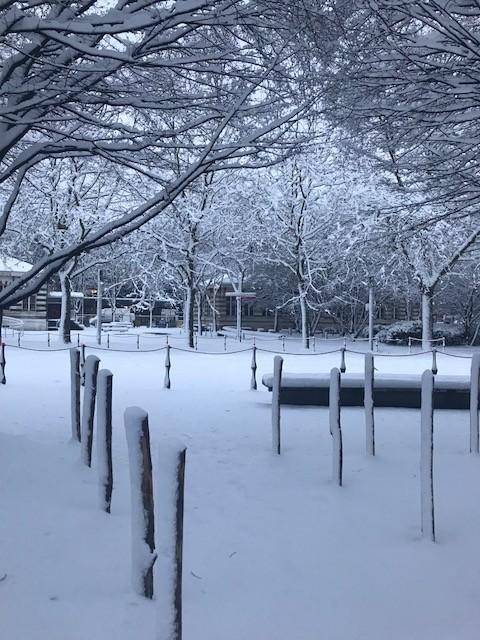 Le parc de la Vilette (Paris) sous la neige le 7 février 2018.