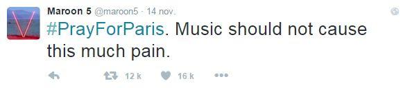 """""""La musique ne devrait pas causer autant de souffrances"""", écrit Maroon 5"""
