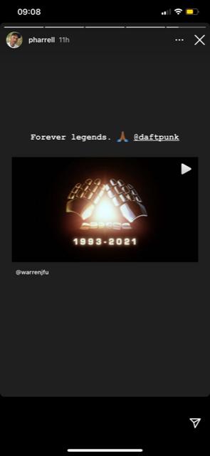Pharell Williams adresse un mot d'au revoir aux Daft Punk