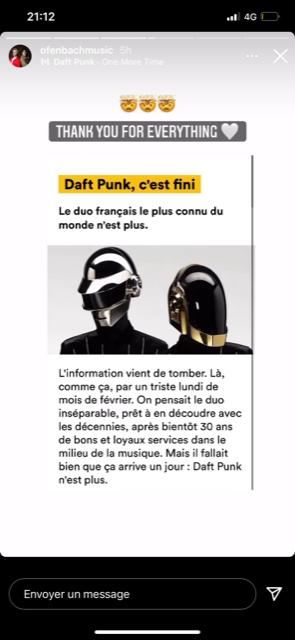 Le duo Ofenbach salue la carrière des Daft Punk