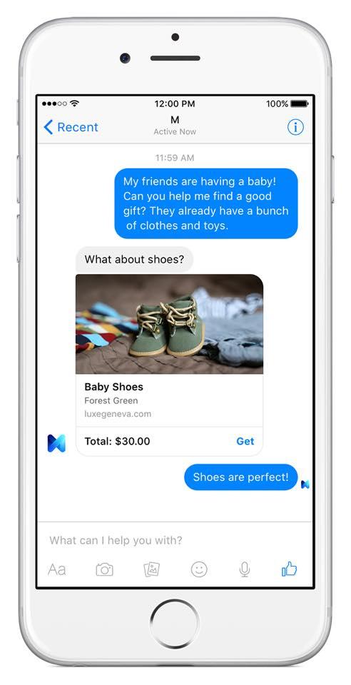 M, l'assistant virtuel de Facebook se présente sous la forme d'un contact Messenger