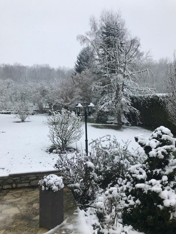 La neige dans un jardin de Soissons (Aisne) le mardi 6 février 2018