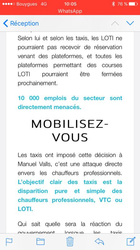 L'appel à la mobilisation envoyé par Uber à ses chauffeurs