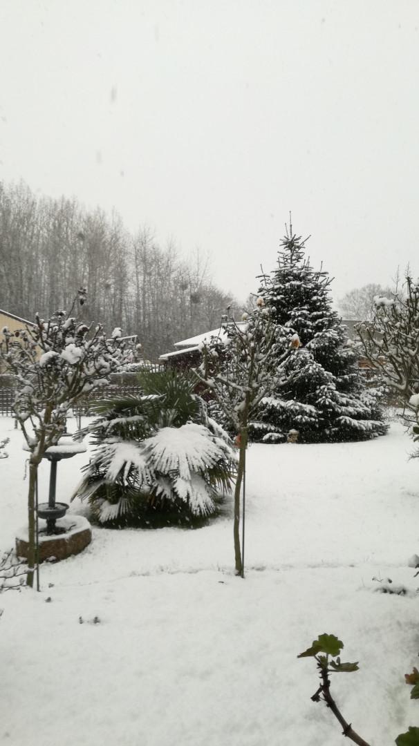 La neige à Saint-Méen-le-Grand (Ille-et-Vilaine) le 6 février 2018