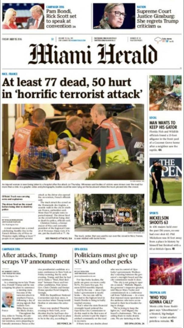 """""""Au moins 77 morts et 50 blessés dans une horrible attaque terroriste"""", titre le """"Miami Herald"""""""