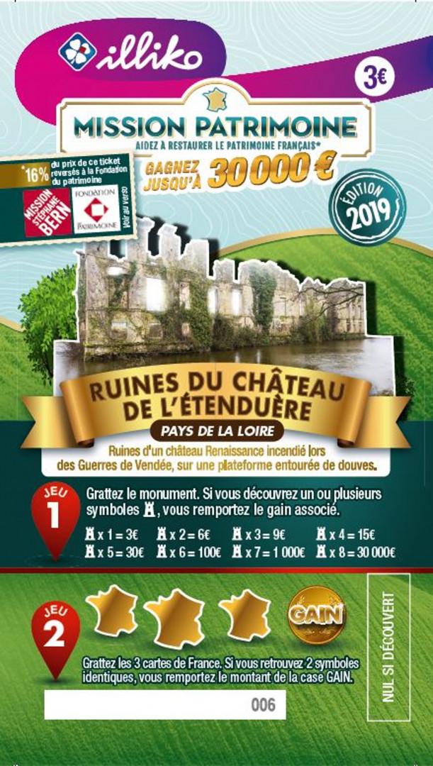 Ticket Ruines du Château de l'Étenduère dans les Pays de la Loire. Ruines d'un château Renaissance incendié lors des Guerres de Vendée, sur une plateforme entourée du douves.
