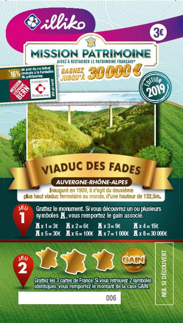 Ticket Viaduc des Fades en Auvergne-Rhône-Alpes. Inauguré en 1909, il s'agit du deuxième plus haut viaduc ferroviaire au monde, d'une hauteur de 132,5 mètres.