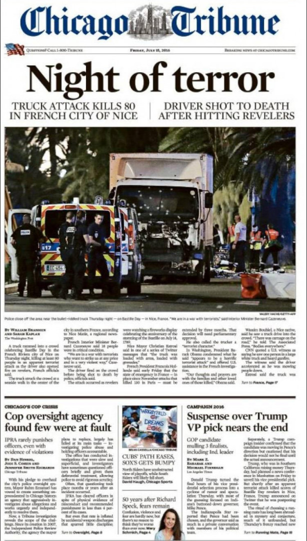 """""""La nuit de la terreur"""", titre le """"Chicago Tribune"""" aux États-Unis"""