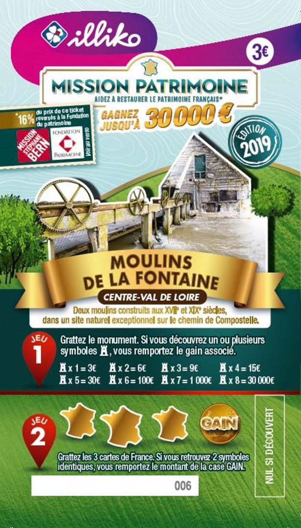 Ticket Moulins de la Fontaine en Centre-Val-de-Loire. Deux moulins construits aux XVIIème et XIXème siècles, dans un site naturel exceptionnel sur le chemin de Compostelle.