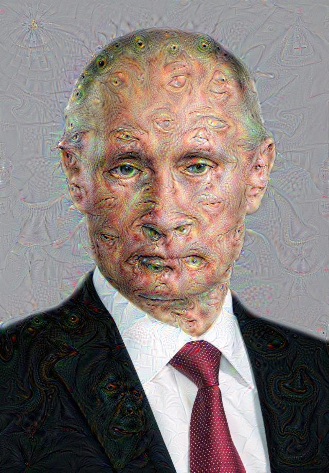 Une image de Poutine transformée par le Deep Dream