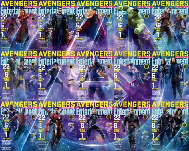 Les 15 couvertures assemblées forment le logo des Avengers