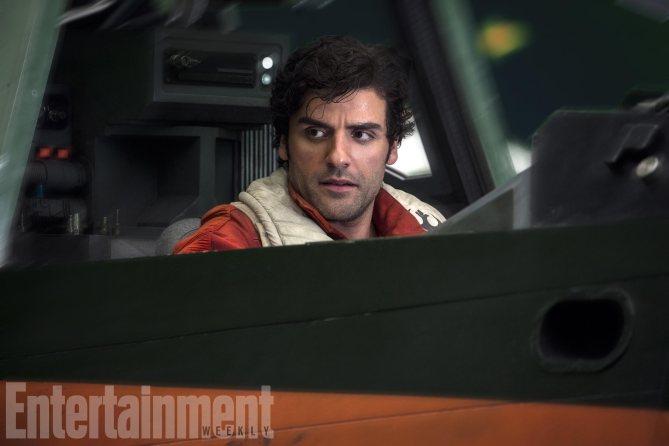 Le pilote Poe Dameron à bord d'un X-Wing
