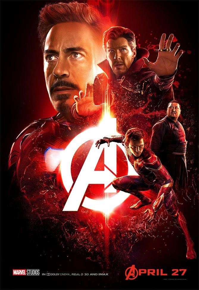 Iron Man et Doctor Strange domine l'affiche rouge, symbole de la Pierre de la Réalité