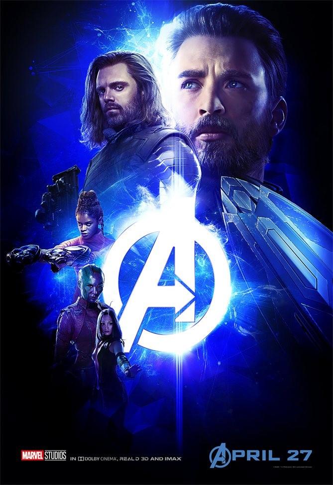 """La Pierre bleutée, de """"l'Espace"""", mélange Captain America, Bucky, Shuri, Nebula et Mantis"""
