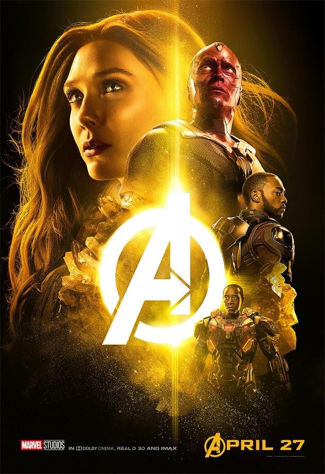 Naturellement, c'est Vision qui illustre l'affiche jaune. Il porte la pierre de l'esprit sur le front.