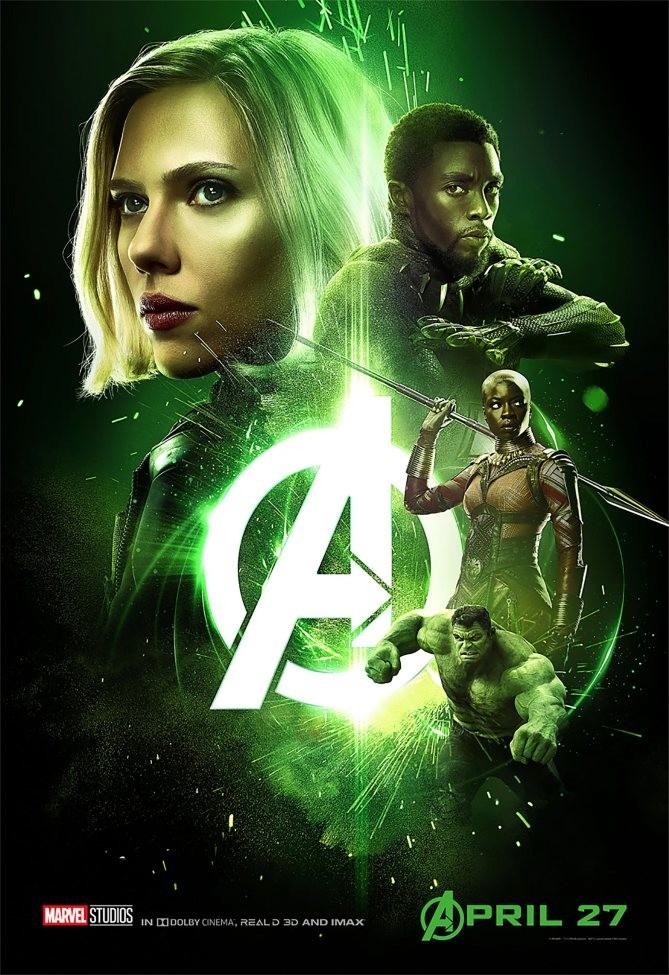 L'affiche verte, de la Pierre du Temps, préfère Black Widow et Black Panther à Doctor Strange, son détenteur.
