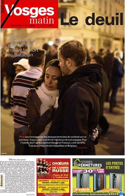 """Les larmes et """"le deuil"""" pour Vosges matin"""