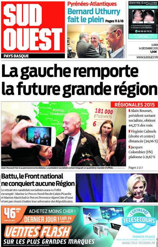 Alain Rousset a recueilli 44% des voix