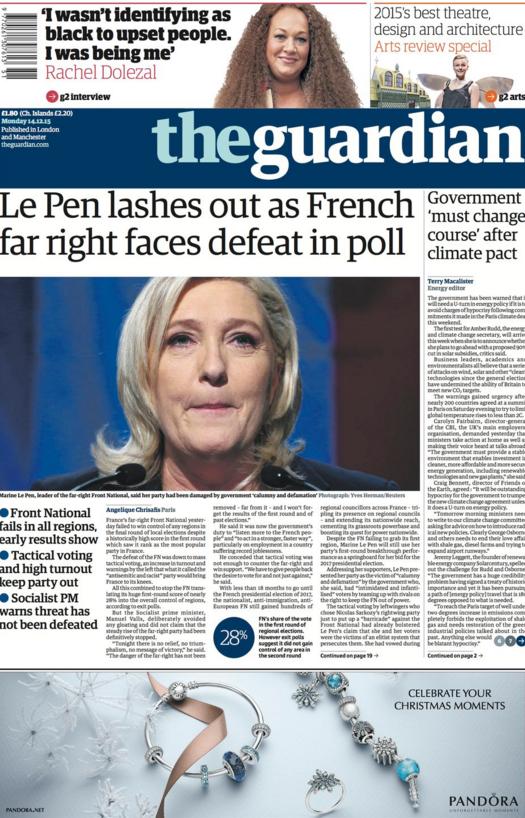 Même le journal anglais The Guardian fait sa une sur les résultats